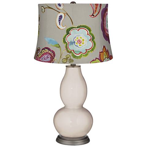 Pediment Beige with Flowers Double Gourd Table Lamp