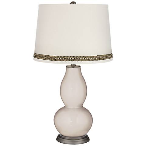 Pediment Double Gourd Table Lamp with Wave Braid Trim