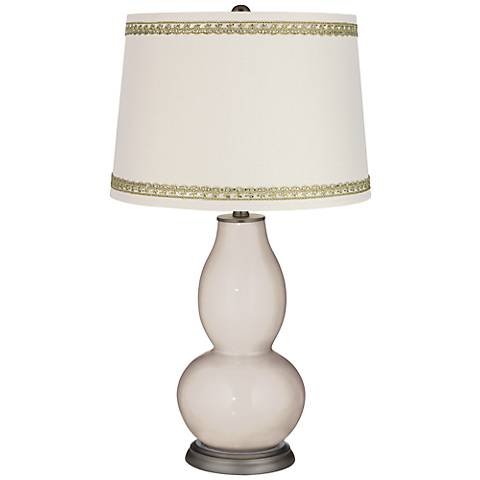 Pediment Double Gourd Table Lamp with Rhinestone Lace Trim