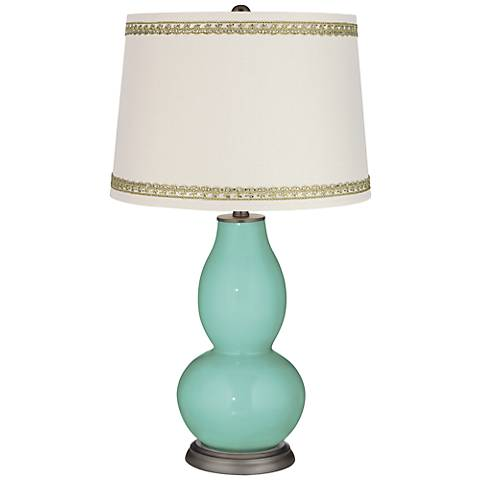 Rapture Blue Double Gourd Table Lamp with Rhinestone Lace Trim
