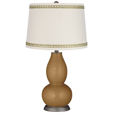 Light Bronze Metallic Gourd Lamp with Rhinestone Lace Trim