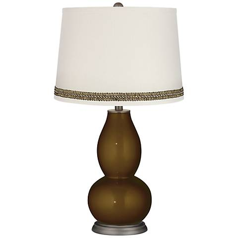 Bronze Metallic Double Gourd Table Lamp with Wave Braid Trim
