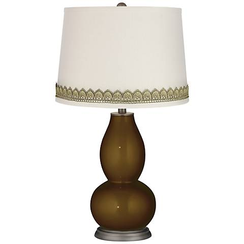 Bronze Metallic Double Gourd Table Lamp with Scallop Lace Trim