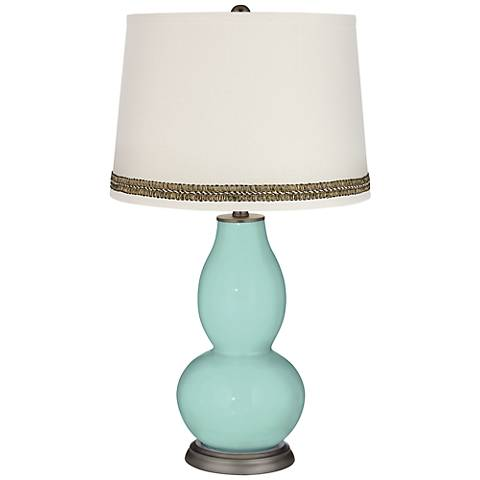 Cay Double Gourd Table Lamp with Wave Braid Trim
