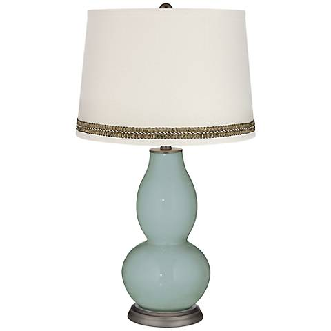 Aqua-Sphere Double Gourd Table Lamp with Wave Braid Trim