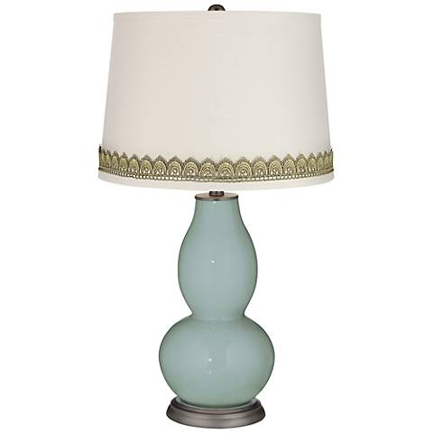 Aqua-Sphere Double Gourd Table Lamp with Scallop Lace Trim