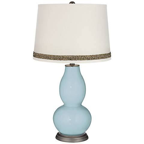 Vast Sky Double Gourd Table Lamp with Wave Braid Trim