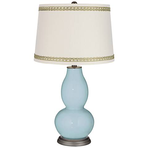 Vast Sky Double Gourd Table Lamp with Rhinestone Lace Trim