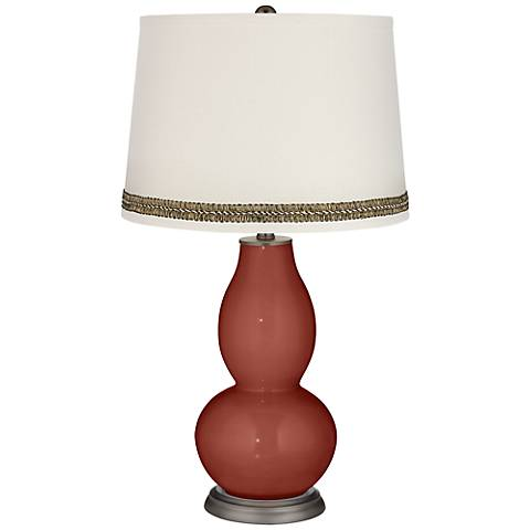 Madeira Double Gourd Table Lamp with Wave Braid Trim
