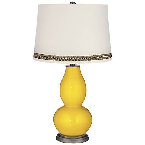Citrus Double Gourd Table Lamp with Wave Braid Trim