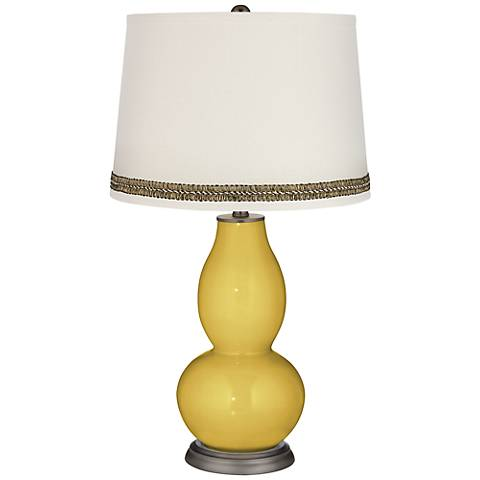 Nugget Double Gourd Table Lamp with Wave Braid Trim