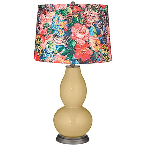 Humble Gold Floral Digital Print Shade Double Gourd Lamp