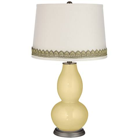 Butter Up Double Gourd Table Lamp with Scallop Lace Trim