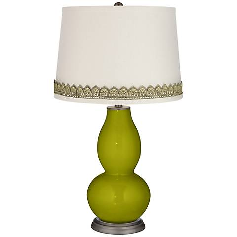 Olive Green Double Gourd Table Lamp with Scallop Lace Trim