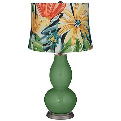 Garden Grove Multi-Color Daisies Double Gourd Table Lamp