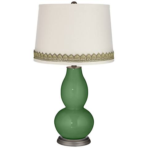 Garden Grove Double Gourd Table Lamp with Scallop Lace Trim