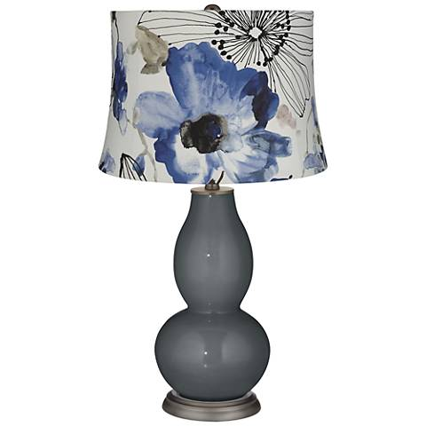 Black of Night Blue Flowers Double Gourd Table Lamp