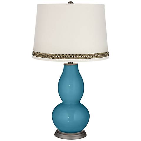 Great Falls Double Gourd Table Lamp with Wave Braid Trim