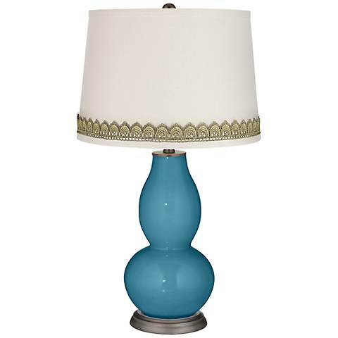 Great Falls Double Gourd Table Lamp with Scallop Lace Trim