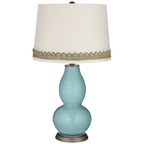 Raindrop Double Gourd Table Lamp with Scallop Lace Trim
