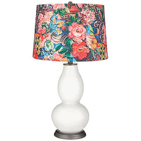Winter White Floral Digital Print Shade Double Gourd Lamp