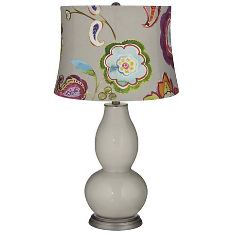 Requisite Gray Beige with Flowers Double Gourd Table Lamp