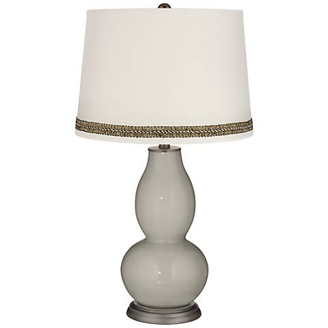Requisite Gray Double Gourd Table Lamp with Wave Braid Trim