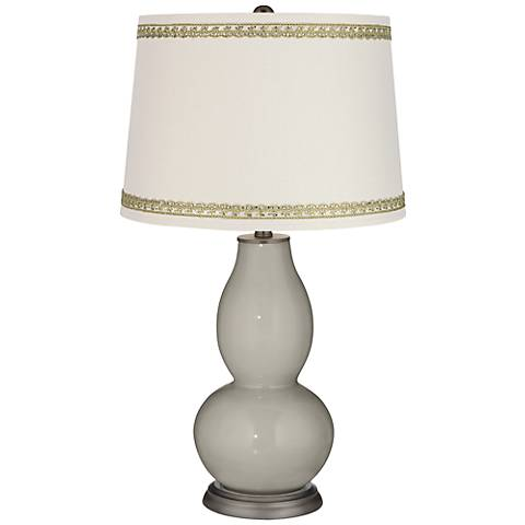 Requisite Gray Double Gourd Table Lamp with Rhinestone Lace Trim