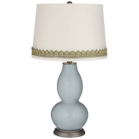 Uncertain Gray Double Gourd Table Lamp with Scallop Lace Trim