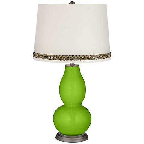 Neon Green Double Gourd Table Lamp with Wave Braid Trim