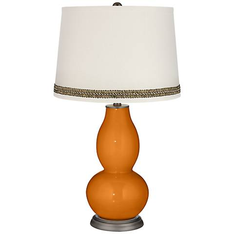 Cinnamon Spice Double Gourd Table Lamp with Wave Braid Trim
