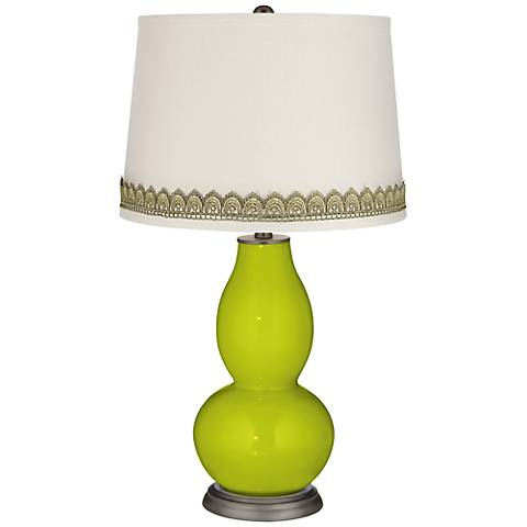 Pastel Green Double Gourd Table Lamp with Scallop Lace Trim