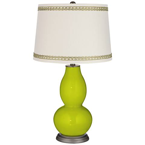 Pastel Green Double Gourd Table Lamp with Rhinestone Lace Trim