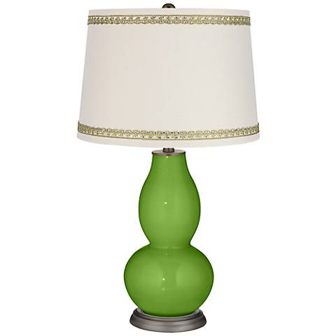 Rosemary Green Double Gourd Table Lamp with Rhinestone Lace Trim