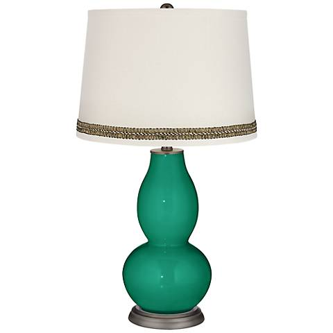 Leaf Double Gourd Table Lamp with Wave Braid Trim