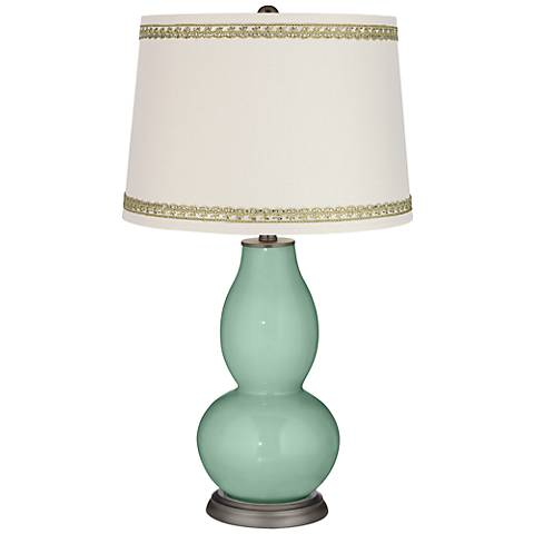 Grayed Jade Double Gourd Table Lamp with Rhinestone Lace Trim
