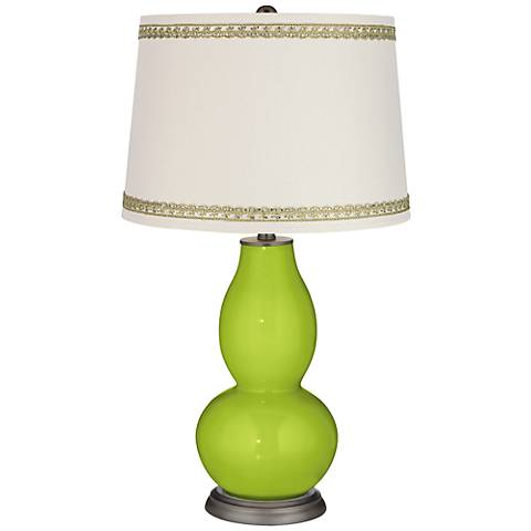 Tender Shoots Double Gourd Table Lamp with Rhinestone Lace Trim