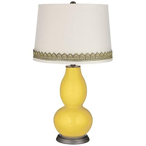 Lemon Zest Double Gourd Table Lamp with Scallop Lace Trim