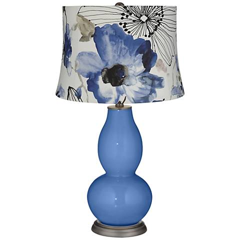 Dazzle Blue Watercolor Flowers Double Gourd Table Lamp
