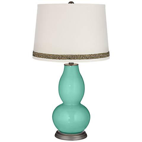 Larchmere Double Gourd Table Lamp with Wave Braid Trim