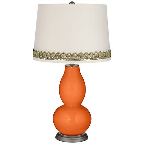 Invigorate Double Gourd Table Lamp with Scallop Lace Trim