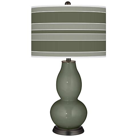 Deep Lichen Green Bold Stripe Double Gourd Table Lamp