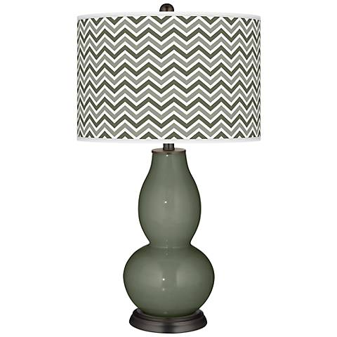 Deep Lichen Green Narrow Zig Zag Double Gourd Table Lamp