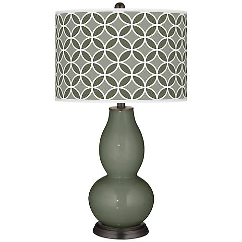 Deep Lichen Green Circle Rings Double Gourd Table Lamp