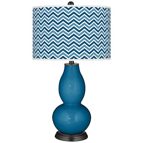 Mykonos Blue Narrow Zig Zag Double Gourd Table Lamp