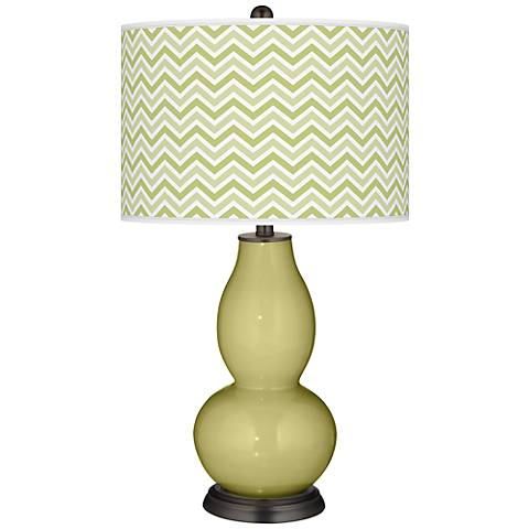 Linden Green Narrow Zig Zag Double Gourd Table Lamp