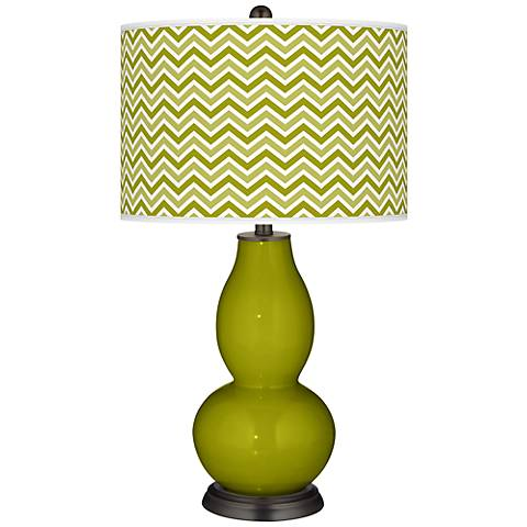 Olive Green Narrow Zig Zag Double Gourd Table Lamp