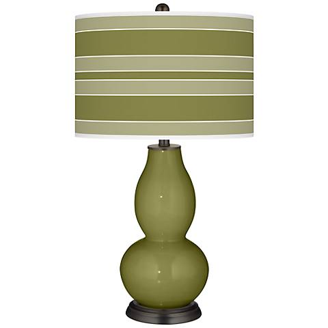Rural Green Bold Stripe Double Gourd Table Lamp