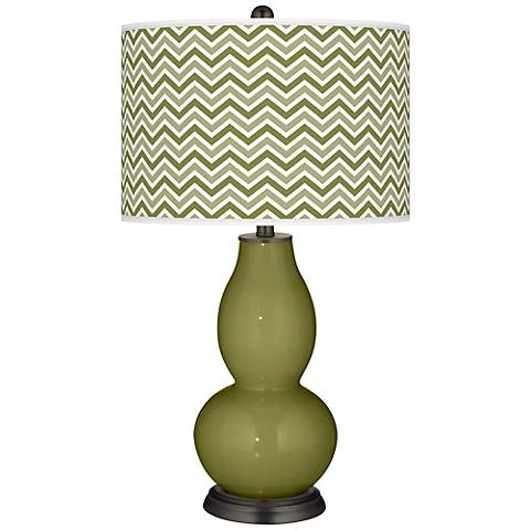 Rural Green Narrow Zig Zag Double Gourd Table Lamp