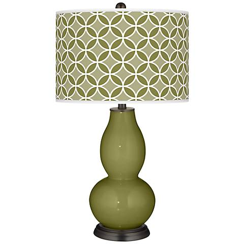 Rural Green Circle Rings Double Gourd Table Lamp